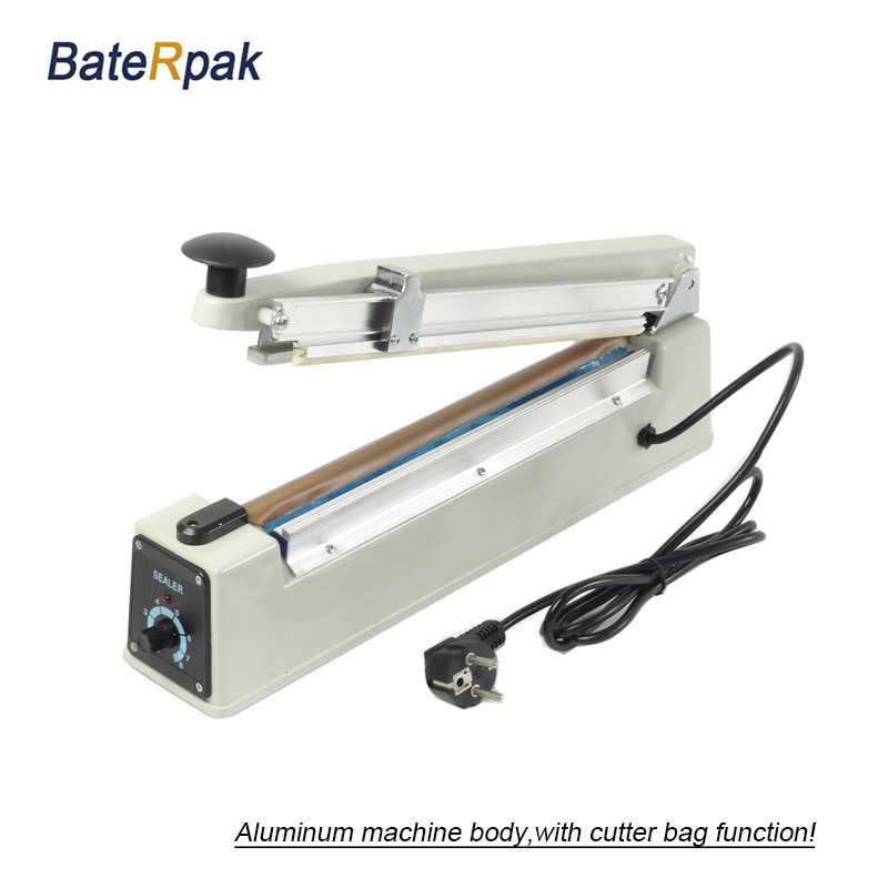 PFS-300Aluminum body  Hand Impulse Sealer PP/PE film bag sealer,with cutter function,2mm sealing width,220V/50Hz pfs 200 impulse quick rapid plastic pvc bag sealing machine sealer for food medical packaging packing manufacturing industry