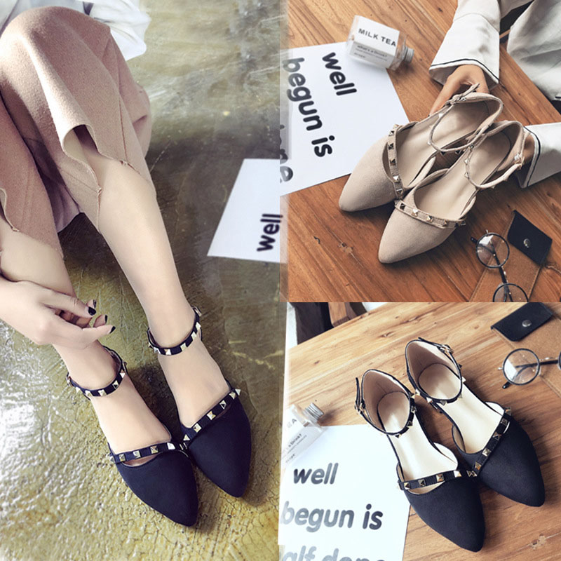 Woman Flat Shoes Pointed Toe Women Sandals Fashion Rivets Slip On Casual Lady Female Shoes Sweet Flock Women Shoes NEW Sandals sweet women s flat shoes with pointed toe and two piece design