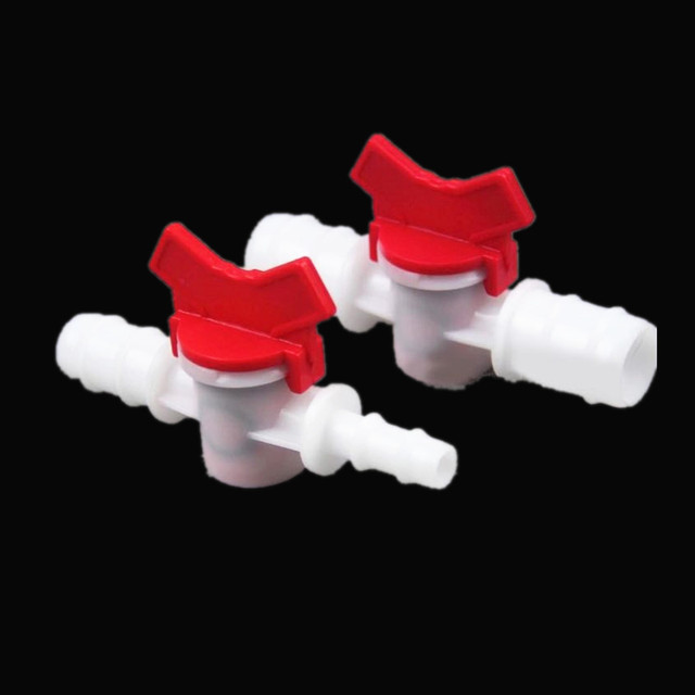 4mm 6mm 8mm 10mm 12mm 16mm 20mm Slang Barb Twee Manier Plastic Bal valve Aquarium Tuin Micro Irrigatie Connector