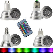 LED RGB Bulb Lamp E27 E14 GU10 85-265V MR16 12V LED Changeable Spotlight 3W Magic Holiday RGB lighting +Remote Control 16 Colors(China)