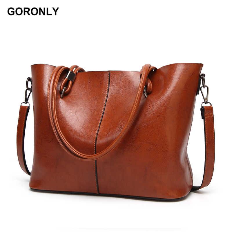 a289656ecbb0 Goronly Фирменная Новинка кожаная сумка Для женщин Сумки женские  дизайнерские сумки на плечо большой Повседневное сумка