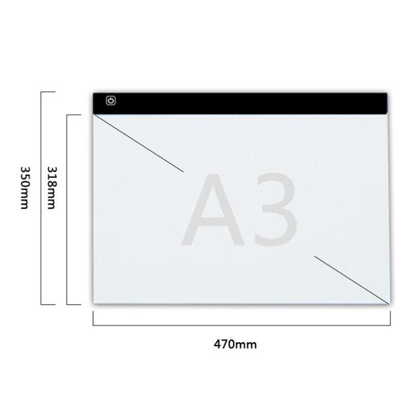 A3! Dimmable Ultra Sottile A3 HA CONDOTTO LA Luce Tablet Pad applica per EU/UK/AU/US Spina/USB diamante Ricamo Pittura Croce di Diamanti Stitch