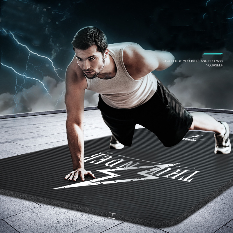 MEN Yoga mat Non Slip Mat Blanket Men Fitness Exercise Pilates Workout Indoor 185*80*15 NBR