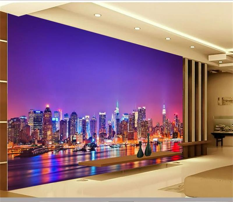 3d room wallpaper custom mural non-woven picture The seaside city night TV setting wall painting photo wallpaper for walls 3d wallpaper custom mural non woven wall sticker black and white wood road snow tv setting wall painting photo wallpaper for 3d
