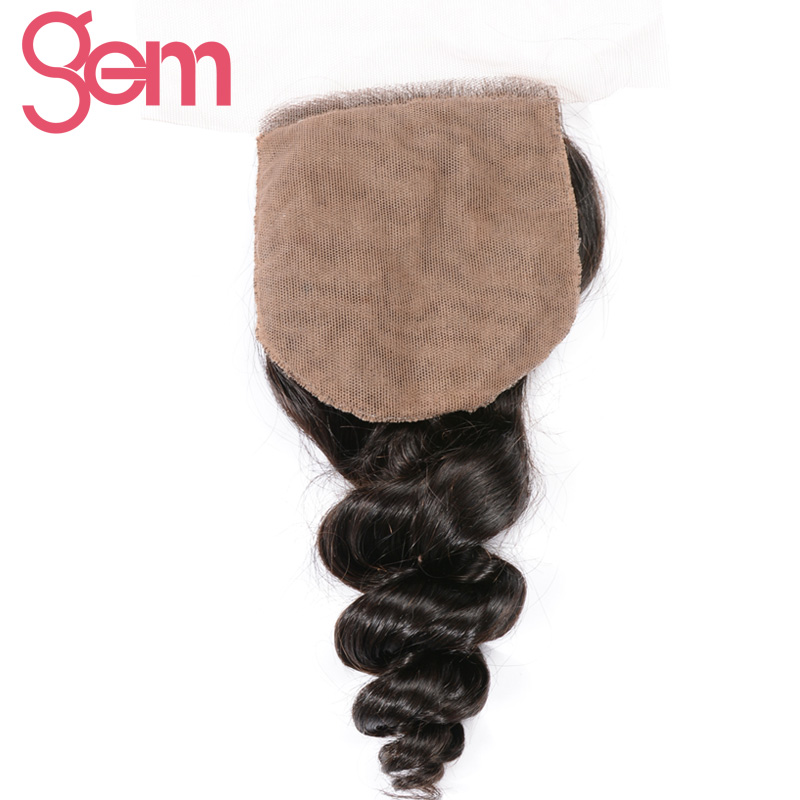 Gem Beauty Brazilian Remy Hair Loose Wave Closure 130% Density Human Hair Weave Silk Base Closure Hand Made Lace Closure 1b