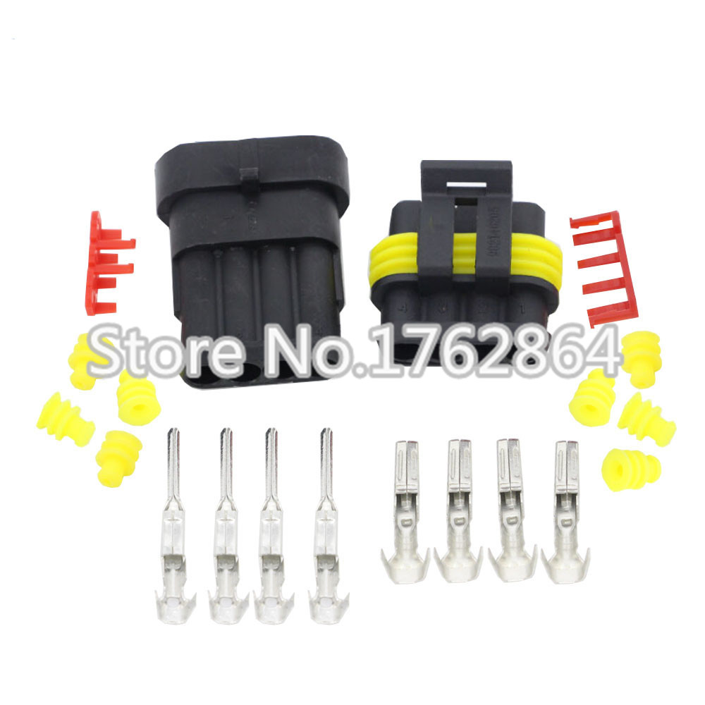 50Sets 4 Pin AMP 1.5 Connectors DJ7041-1.5-11/21 Waterproof Electrical Wire Connector,Xenon lamp connector Automobile Connectors 50 sets dj3121y 1 6 11 21 deutsch connectors 12 pin dt04 12p dt06 12s automobile waterproof wire electrical connector plug