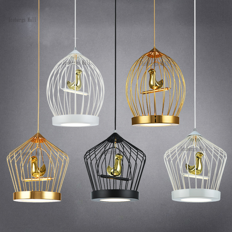 Nordic Loft studio cage chandelier avize modern minimalist restaurant chandelier personalized clothing store cafe bar lamparas vintage clothing store personalized art chandelier chandelier edison the heavenly maids scatter blossoms tiny cages