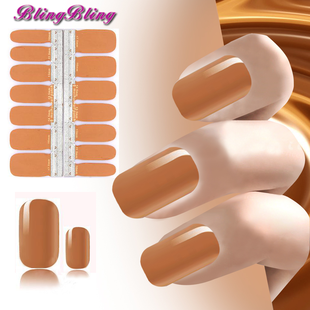 blingbling Adhesive Nail Sticker Lady Brown Color Nails Polish Stickers Manicure Nail Art Decoration