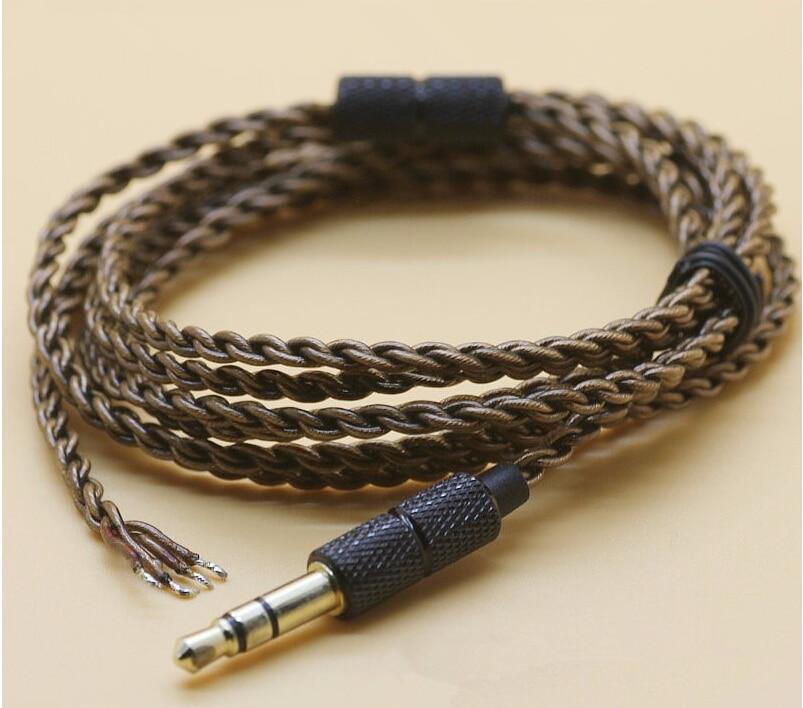 2pcs 1.2meter DIY ie800 headphone cable transparent black ...