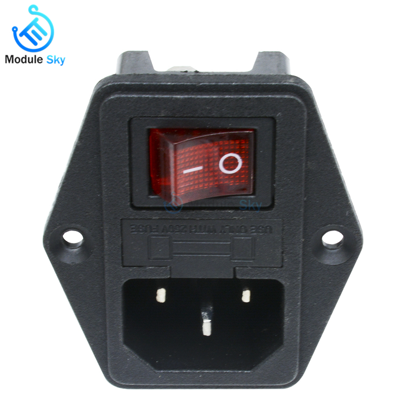 1x Red LED Rocker Switch Fuse Holder IEC320 C14 Inlet Power Socket AC250V 10A fu