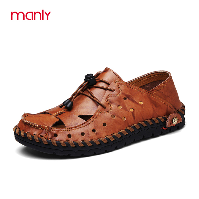 5aa8e6a535be06 MANLI 2017 Summer Men s Loafers Beach Breathable Men s Sandals Causal Shoes  Fashion Leather Genuine Leather Men s Sandal