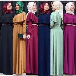 2019 vestido musulmán de Abaya para mujer moda islámica árabe largo Hijab vestido negro Simple ropa tradicional Abaya musulmán 7 colores