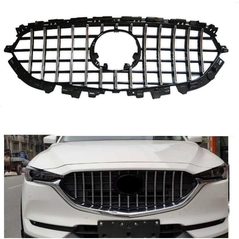 EXTERIOR AUTO FRONT MESH MASK TRIMS COVERS FRONT BUMPER ABS MODIFIED GRILL GRILLS FIT FOR MAZDA CX-5 CX5 AUTO GRILLE 2017 2018