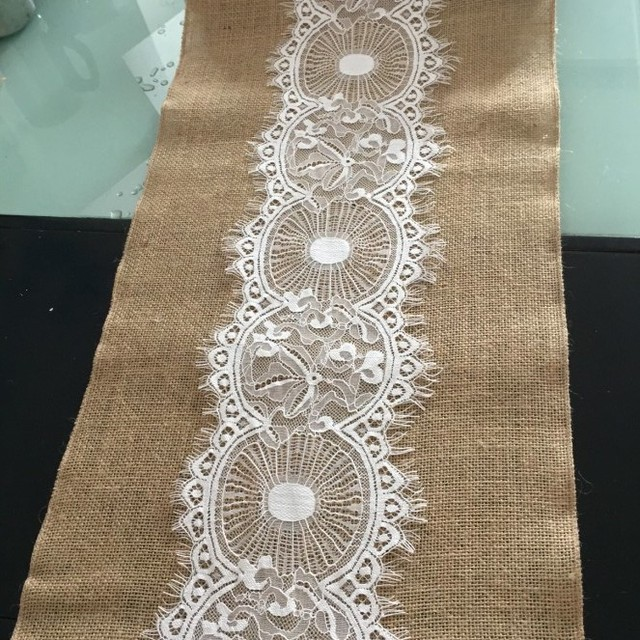 14x 120 Inch Vintage Rustic Hessian Burlap Lace Roll For Wedding Table  Runner /burlap Wedding