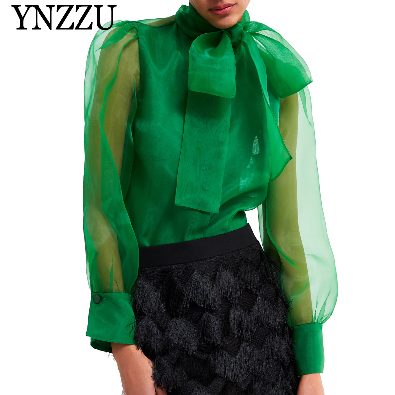 YNZZU 2019 Spring Elegant Blouse Women Green Organza Bow Collar Long Sleeve Loose Womens Tops And Blouses Female Blusa YT564