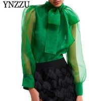 YNZZU 2019 primavera elegante de las mujeres verde Organza lazo Collar de manga larga suelta tops y blusas para mujer Blusa YT564