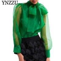 YNZZU 2019 printemps élégant Blouse femmes vert Organza noeud col à manches longues femmes en vrac hauts et chemisiers femme Blusa YT564