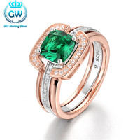 925 Sterling Silver Rose Gold Color Ring With Green Stone The Best Gift for her Party Ring Women's Fashion Jewelry Ripy101 40