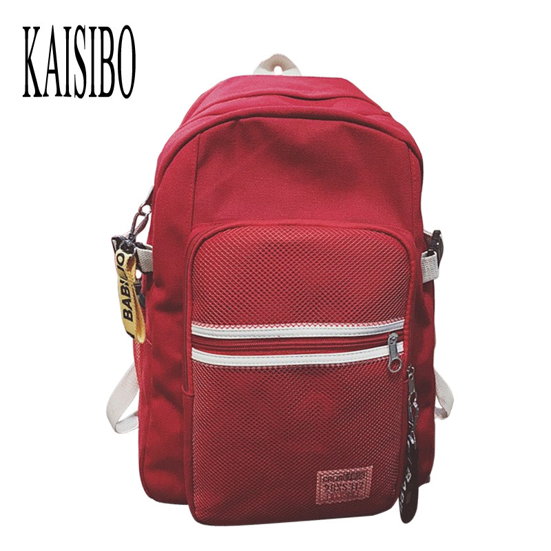 KAISIBO New Arrival Backpack Female Large Canvas Backpacks Women Mesh Pocket White Striped 5 Colors Backpack Mochila Feminina