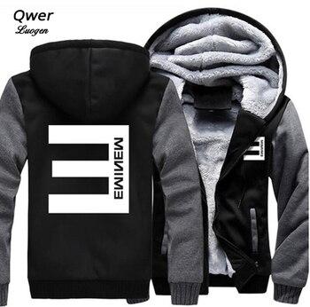 USA size Men Women hip-hop Eminem Zipper Jacket Sweatshirts Thicken Hoodie Coat Clothing Casual kayak suit