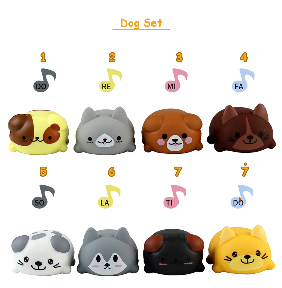 8PCS/set Kawaii Squishy Cat/Dog Electric Musical Instrument Toys Set Stress  Relief Squeeze Anti Stress LED Toy Creative Gifts