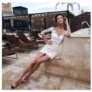 Image 2 - LORIE 2019 Plaj düğün elbisesi Scoop Aplike Ayrılabilir Tren gelinlik Yarım Kollu Boho Kısa etek gelinlik