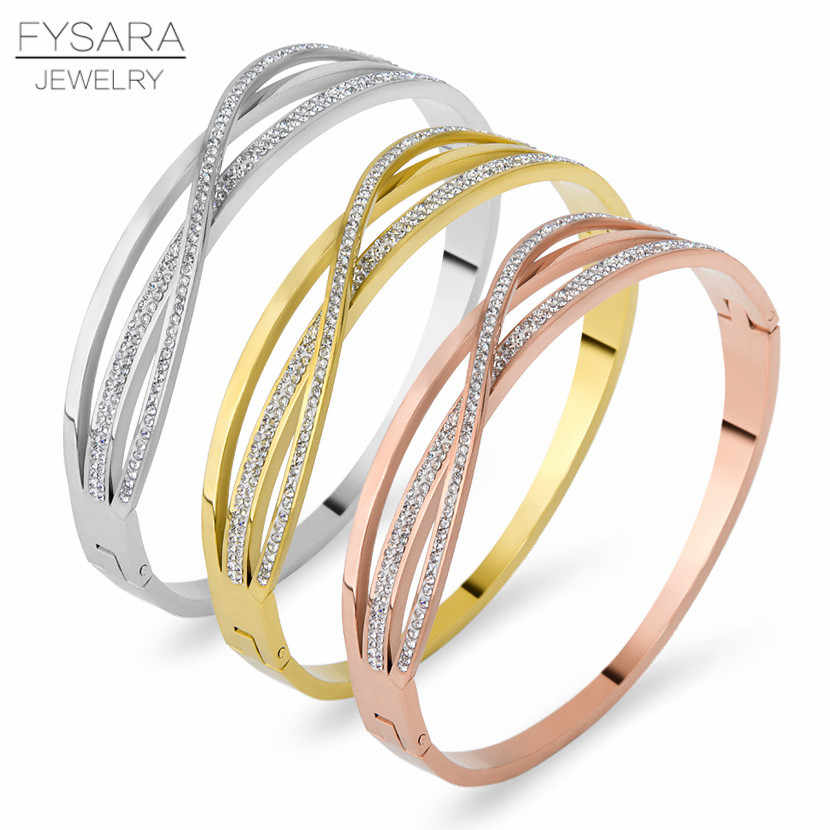 FYSARA Stainless Steel CZ Crystals Intersect Cross Bracelets Bangles Luxury Shiny Silver Rose Gold Pulseras Women Jewelry