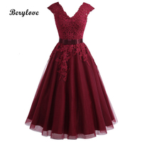 BeryLove Tea Length Burgundy Homecoming Dresses Short V Neck Lace Homecoming Dress With Sleeves Plus Graduation Dresses Gowns