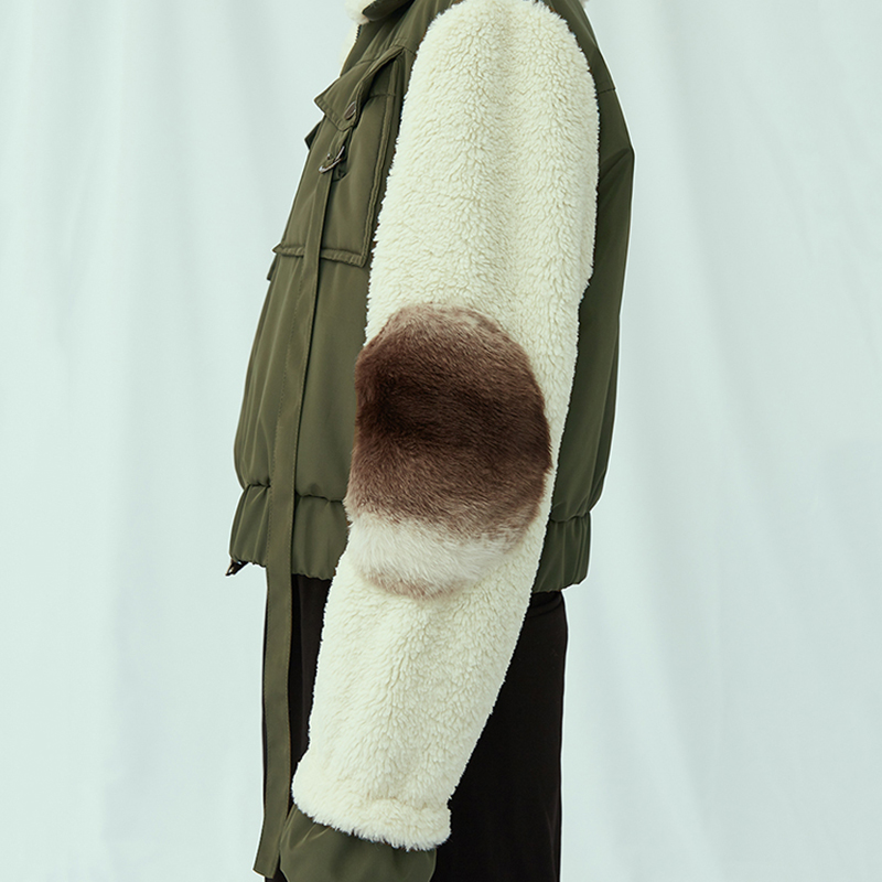 Femmes xitao 2018 Arrivée Casual Patchwork Pleine Pocket Collar Corée Mode Green Army Parka Nouvelle Turn down Hiver Zll2179 Épais Manches nISnr