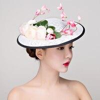 Großhandel Frauen hochzeit Blume Hut partei Haar Fascinator Hut Frauen Cocktail Abendessen Partei Headwear haarspange haar zubehör