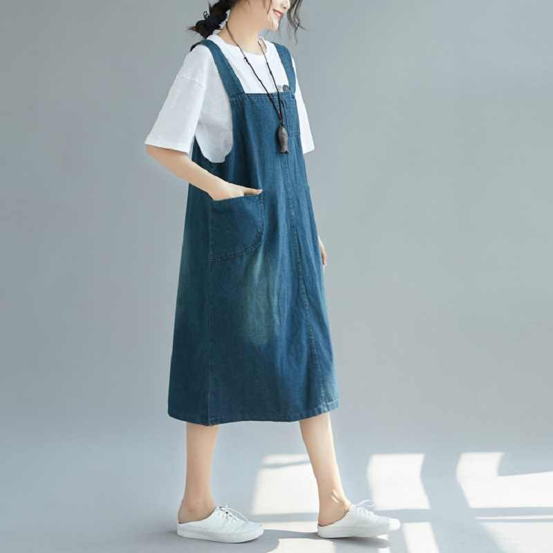 Хлопок рукавов плюс размеры Винтаж для женщин Повседневное свободные длинные джинсовые летнее платье Элегантная одежда 2019 дамы платья для
