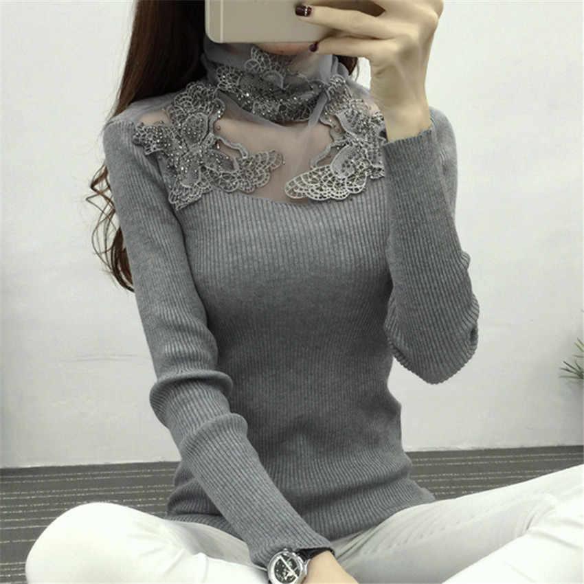 Новый женский свитер с высоким воротом осенне-зимний сетчатый вязаный пуловер в стиле пэчворк с цветами и бабочкой, базовые свитера, женские топы AB700