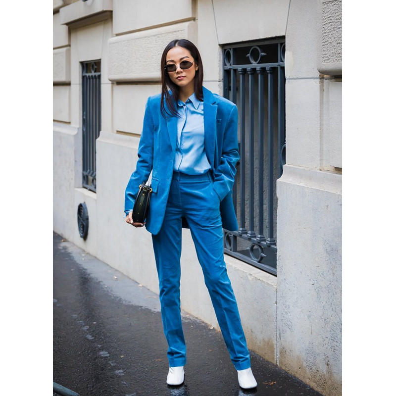 Ladies Suit Blue lapel single-breasted custom lace two buttons long-sleeved women's (coat + pants)