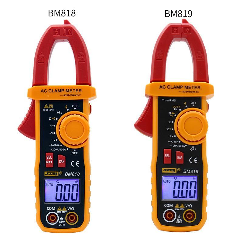 Szbj bm818 bm819 전류계 acv/dcv aca 자동 범위 측정 대용량 ncv 디지털 클램프 미터