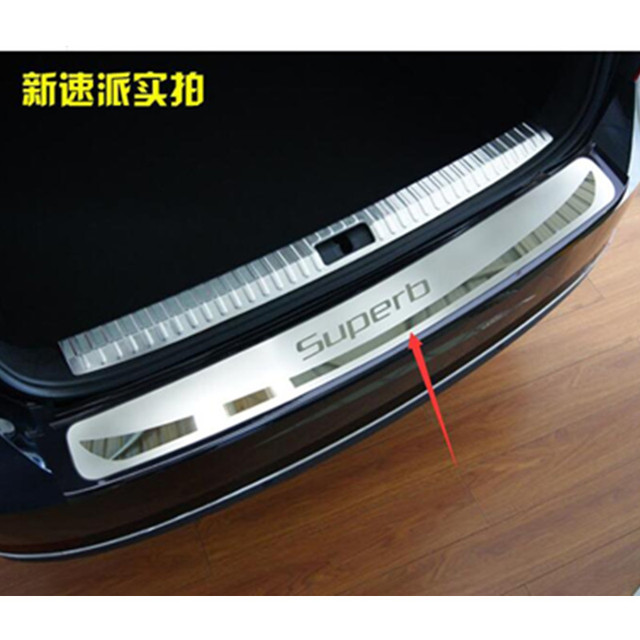 For 2016 2017 Skoda superb Rogue Steel Rear Bumper Protector Sill Trunk Guard Cover Trim Car Styling Accessories 1pcs