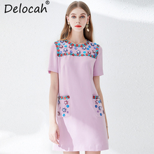 Delocah Women Summer Dress Runway Fashion Designer Short Sleeve Beading Appliques Elegant Casual Holiday Party Loose 2019