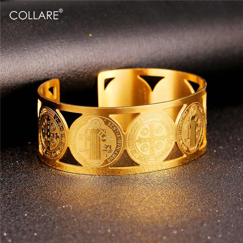 Collareนักบุญเบเนดิกต์เหรียญกำไล316Lสแตนเลสผู้ชายเครื่องประดับสีทองStเบเนดิกต์เหรียญผู้หญิงH162