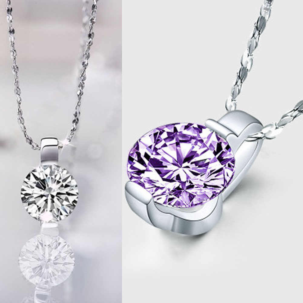 Fashion Style Silver/Purple Color Stylish Shiny  Zirconia Stone Round Pendant Necklace for Women