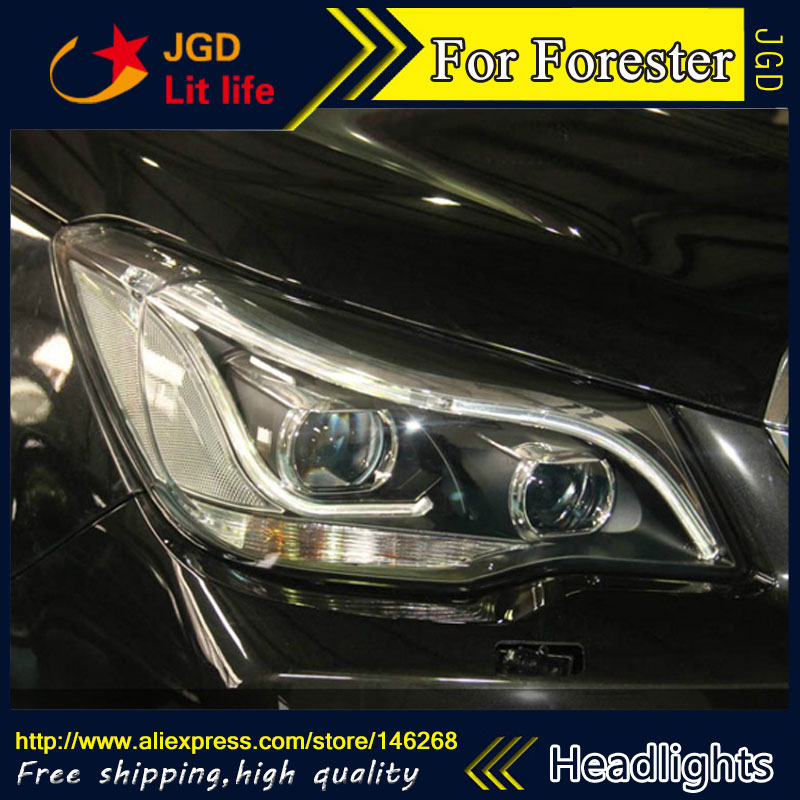 Free shipping ! Car styling LED HID Rio LED headlights Head Lamp case for Subaru Forester Bi-Xenon Lens low beam