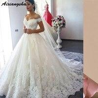 Плюс размер полный кружевной роскошное бальное платье свадебное платье 2019 robe de mariage Mid East vestido de noiva свадебное платье принцессы