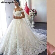 Plus Size Piena del merletto di Lusso Abito di Sfera Abito Da Sposa 2019  robe de mariage Mid-East vestido de noiva Principessa a. a047104abb2