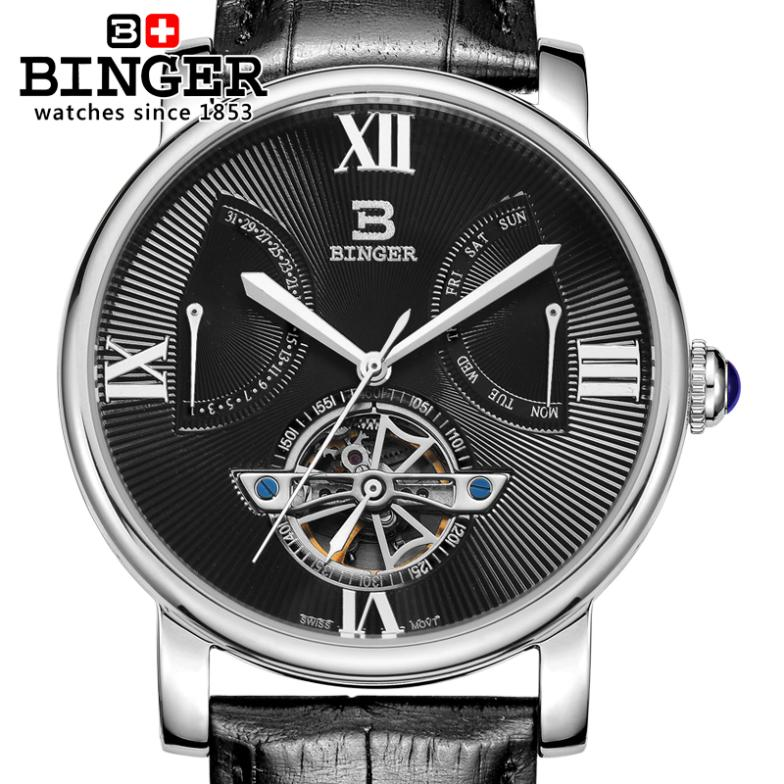Switzerland watches men luxury brand Wristwatches BINGER Automatic self-wind Diver waterproof leather strap watch BG-0408-2 switzerland watches men luxury brand wristwatches binger luminous automatic self wind full stainless steel waterproof bg 0383 2