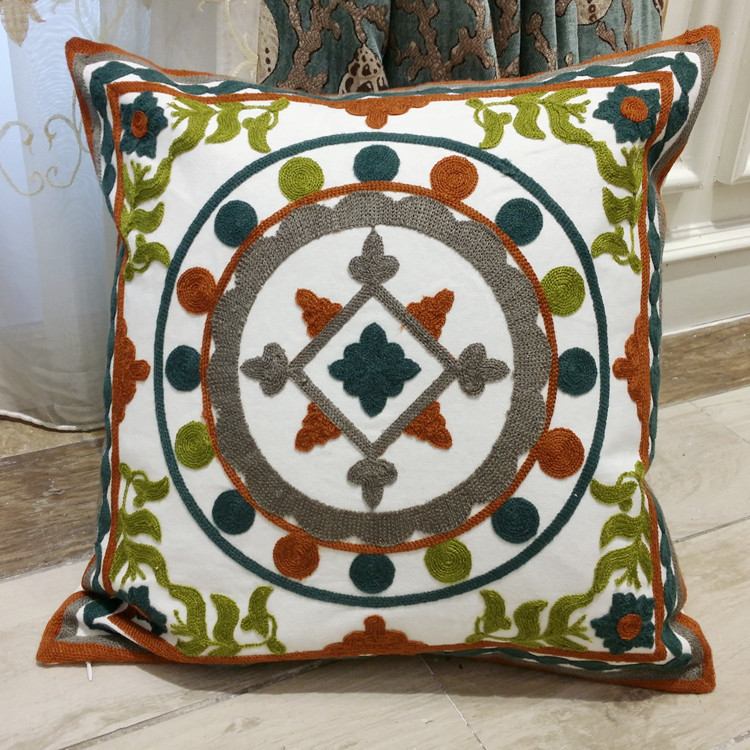 Vintage Embroidery Cotton Pillow Case Home Decorative Throw Cushion Cover Christmas Decoration Square Pillow Cover 45 X 45 Cm