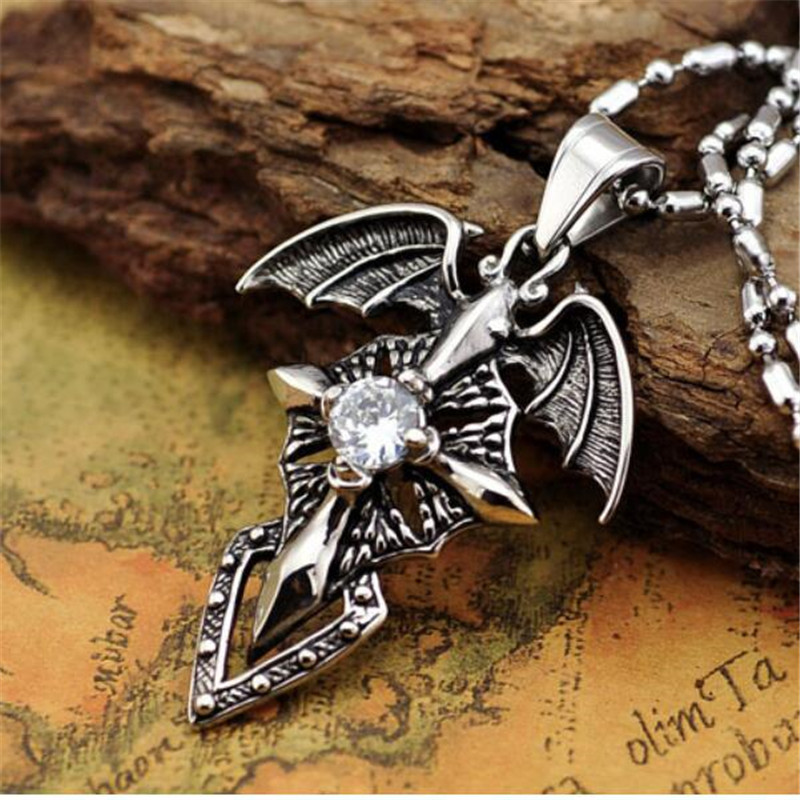 Bat Cross Pendant Necklace With Red White Birthstone Stainless Steel Devil wings Necklace Statement Jewelry CX11 in Pendant Necklaces from Jewelry Accessories