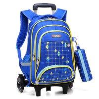 Removable Children School Bags 3 Wheels Child Climb Stair Trolley School Backpacks Kids Wheeled Bags Boys