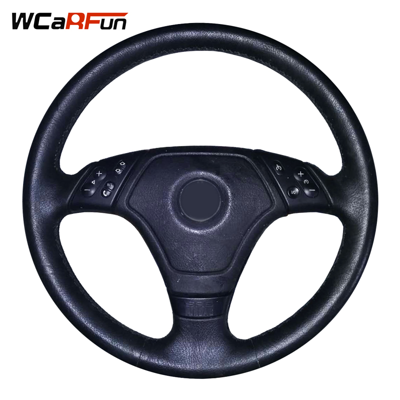 WCaRFun Black Artificial Leather Car Steering Wheel Cover Hand-Stitched Auto Steering Cover for BMW E46 E36 E39 carbon fiber vinyl leather car steering wheel cover fit for bmw e36 e46 e60 e90 38cm carbon wheel cover interior accessories