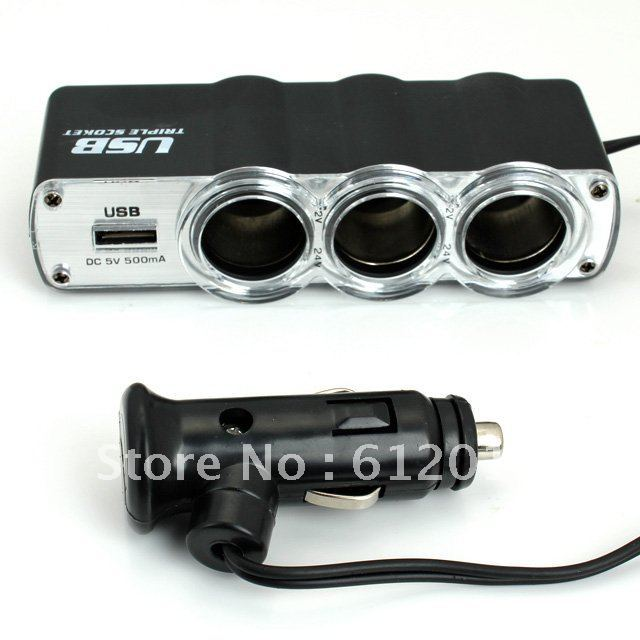 free shipping Black USB+3 way Car Cigarette Lighter Socket Splitter Charger Supply