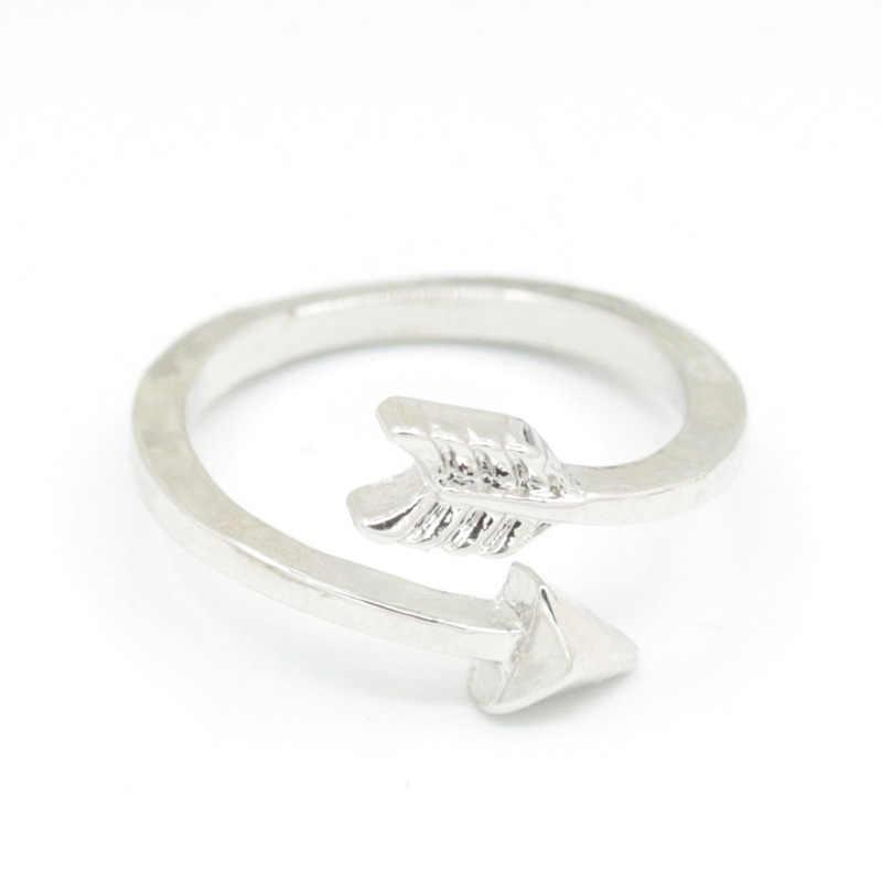 Strzałki pierścienie dla kobiet otwarty pierścień regulowany złoto posrebrzane proste biżuteria na palce akcesoria zaręczynowe obrączki ślubne