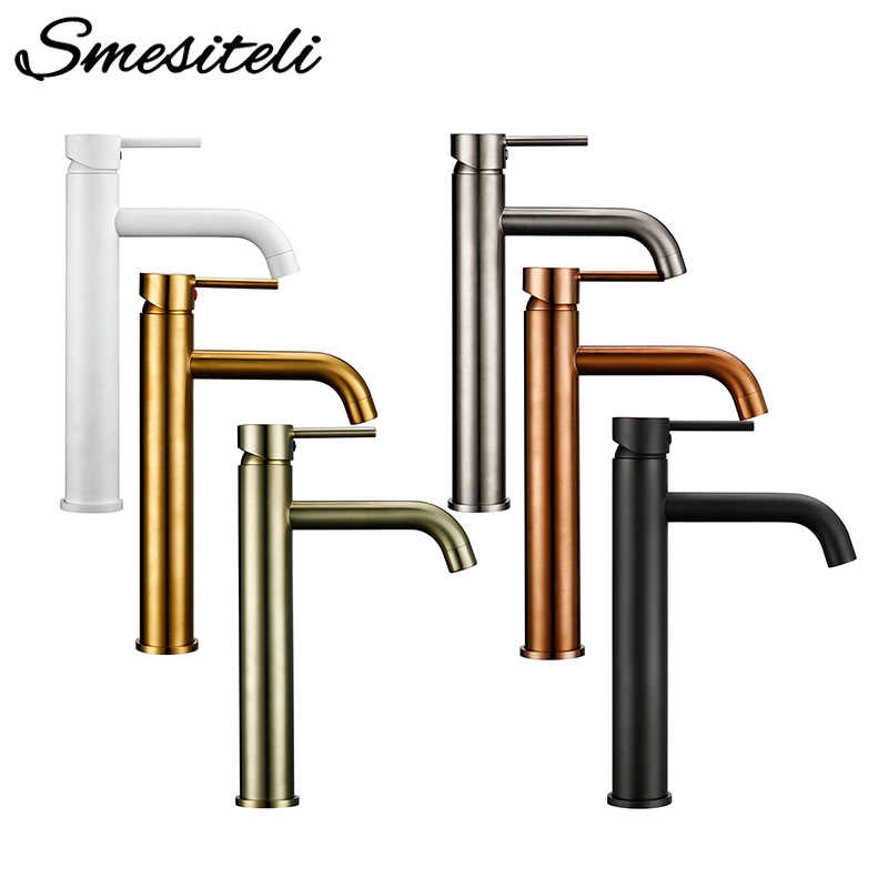 Smesiteli Bathroom Basin Faucets Promotions Faucet Round Matt Black Gold Rose White Basin Mixer Tap Bathroom Small Sink Faucet