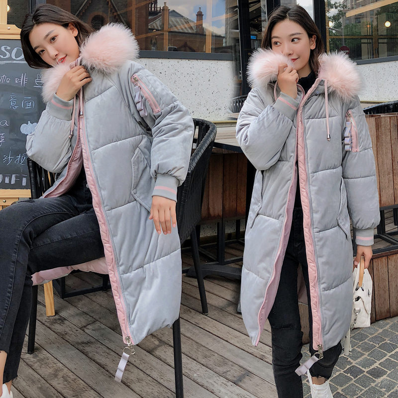 winter women's clothing 2019 new fashion long   parka   feminine coat velvet female winter jacket   parka   woman Fur collar coat